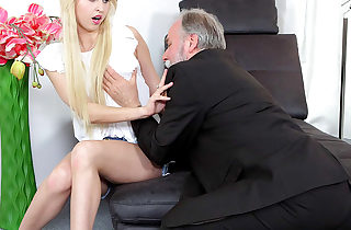 Cute youthfull blonde has a thing for older men